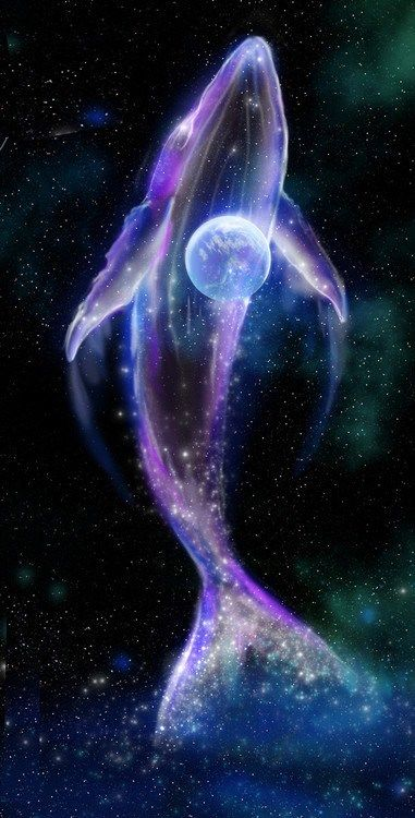 Whale swimming in the galaxy